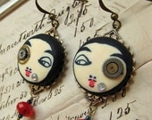 BOGO Sale FREE domestic Shipping Steampunk imaginarium pierrot earrings FRENCH clown watch parts blood red beads paris jewellery polymer cl