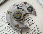 Steampunk Jewelry silver moon Brooch RHINESTONES antique watch parts flower pin rose