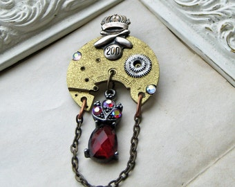Brooch Antique steampunk sterling silver watch parts bowling pin score 200