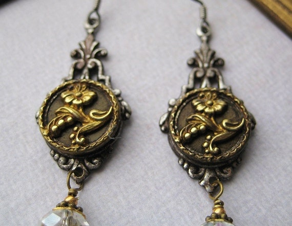 Antique Victorian picture Button Earrings art nouveau flowers brass crystal glass faceted beads