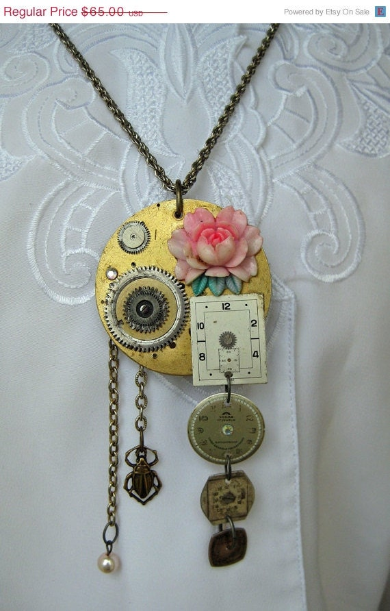 Black Friday SALE Cyber Steampunk Necklace 1950 pink lucite rose wristwatch beetle pearls pocket watch parts gears
