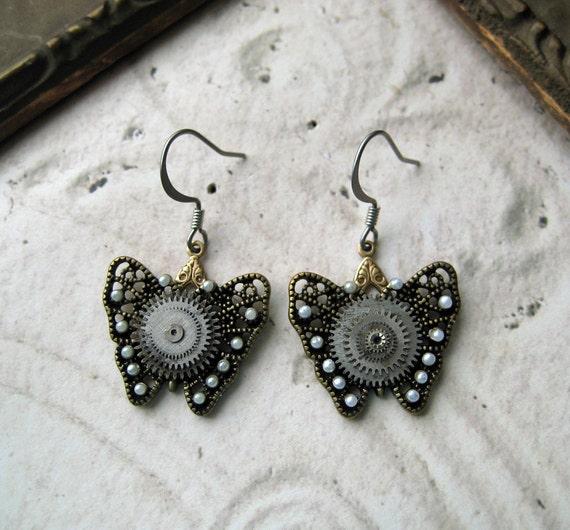 HALF PRICE Steampunk Earrings butterfly pearls antique pocket watch parts Industrial jewellery