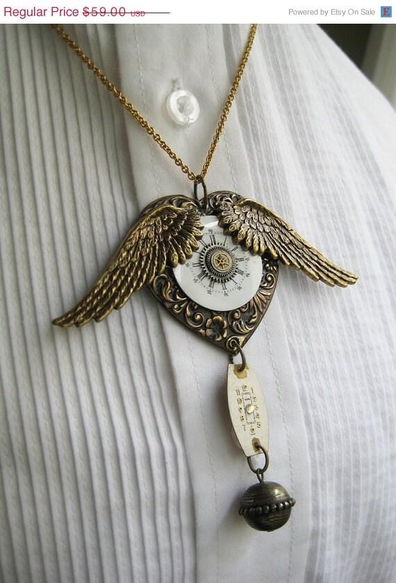 BOGO Sale Steampunk Antique Brass WING Necklace porcelain watch parts vintage 1920 wristwatch ornate heart art nouveau