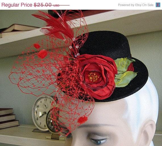 BOGO Sale Clearance Sale Mini Top Hat Burlesque RED and BLACK handmade ribbon rose polka dot netting veil lolita