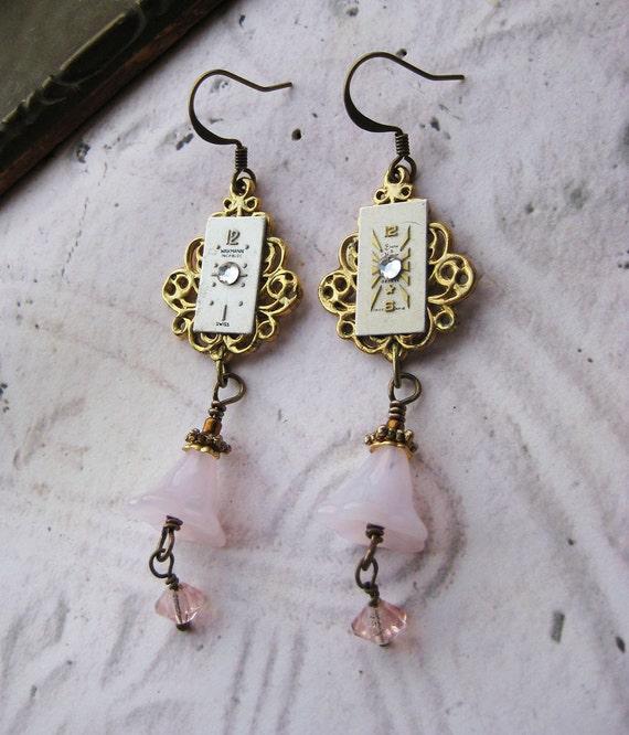 HUGE sale Vintage Earrings Steampunk watch face pink glass flower beads antiqued brass crystal