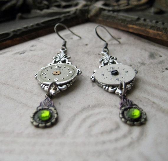 Steampunk Earrings Antique Watch Parts Vintage green jewels silver settings