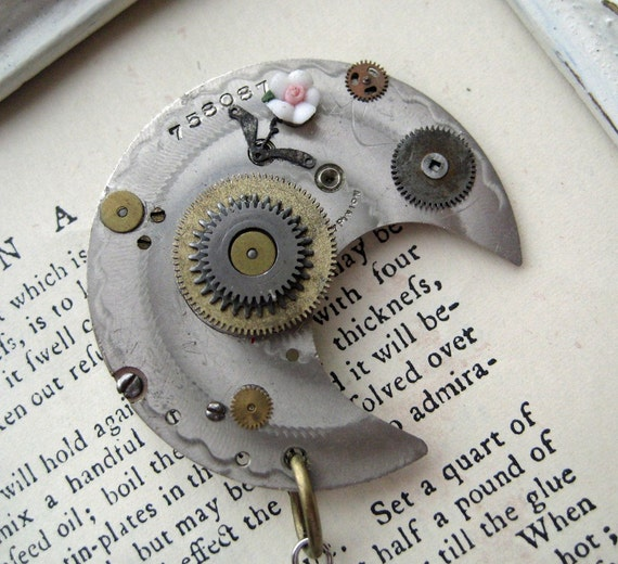 Steampunk Jewelry silver moon Brooch RHINESTONES antique watch parts flower pin rose