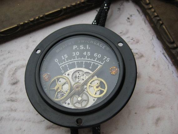 Vintage Steampunk Bolo Tie Jim Koudelka 1988 Murphy Swichgage PSI jewels antique watch parts