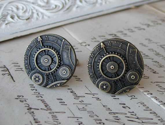 Steampunk wedding cufflinks mens jewelry cuff links brass clock gears