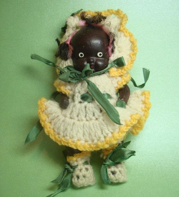 Antique Black Americana Bisque Porcelain Baby Doll