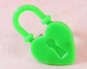 Bright Green Heart Lock Ring