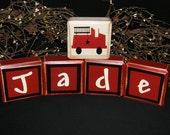 5 PIECE SET -- custom personalized letter blocks firetruck boy stripe design wall shelf letters name teacher kid boy girl