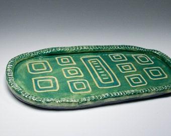 Green Tray, Geometric,  Trinket Tray, Vanity Tray Serving