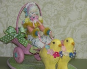 OOAK Antique German Bisque Doll and Easter Chicks Pull Cart by Marcie Hart