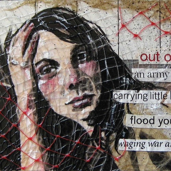 """Original Ransom Poem/Painting, Tiny Miniature Mixed Media Acrylic Portrait Painting on SALE - """"Out of Work"""""""