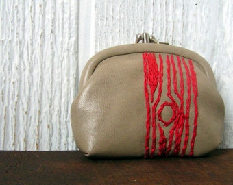 red tree change purse