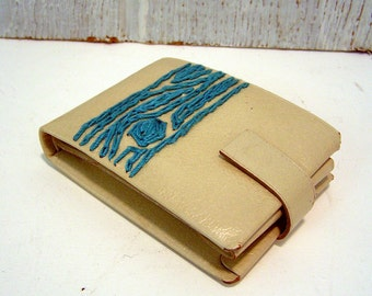 wallet with turquoise wood grain