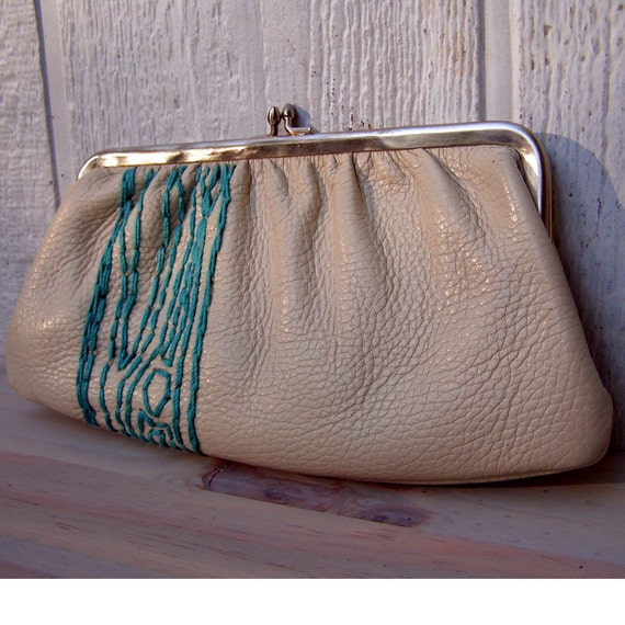 clutch purse with turquoise tree