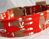 SMALL Dog collar Red Sock Monkeys includes cute funky mutt dog tag pet accessory