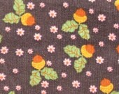 Going out of business sale - Dark brown pinwale cotton corduroy with acorn clusters and flowers LAST PIECE