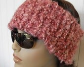 50% Off Head Band  Cowl  Neck Warmer Womens Hand Knitted Pink