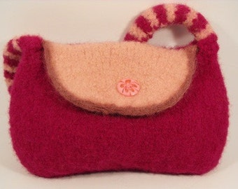 Girl's Purse Hand Knit Wool Knit Felted Bag Pink Fashion