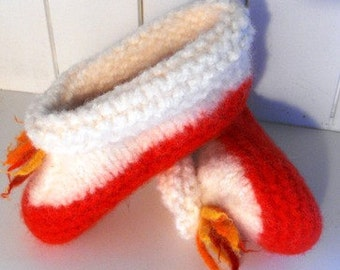 Childrens  Wool Slippers Knitted Felted  Red