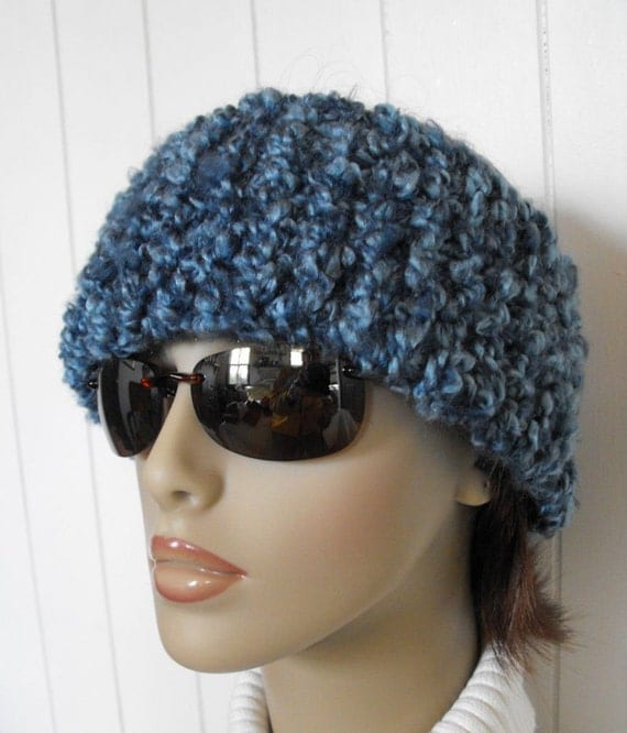 Womens Blue  Hand Knitted Cowl Headband