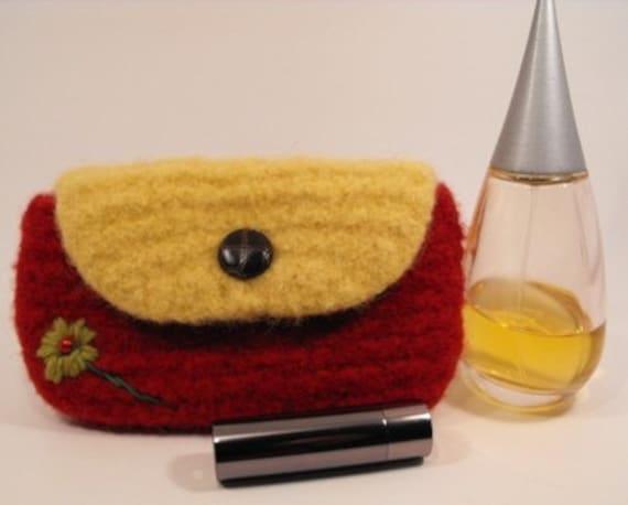 Wallet Purse Wool Hand Knit
