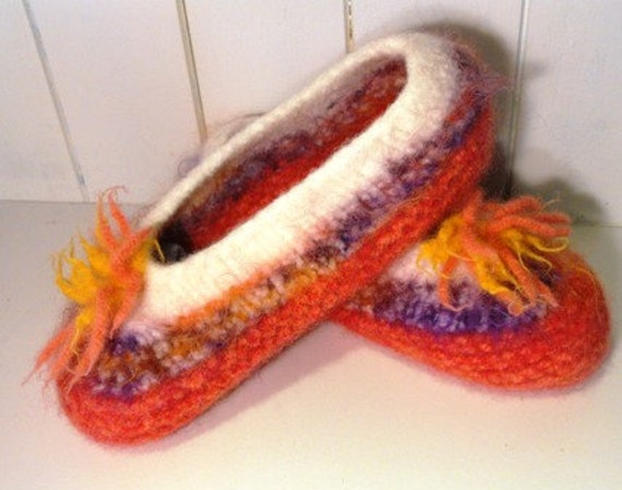 Wool Knitted Felted Slippers for Girls and Women