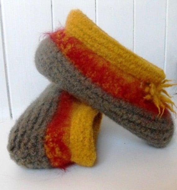 Felted Wool Knitted Slippers for Women