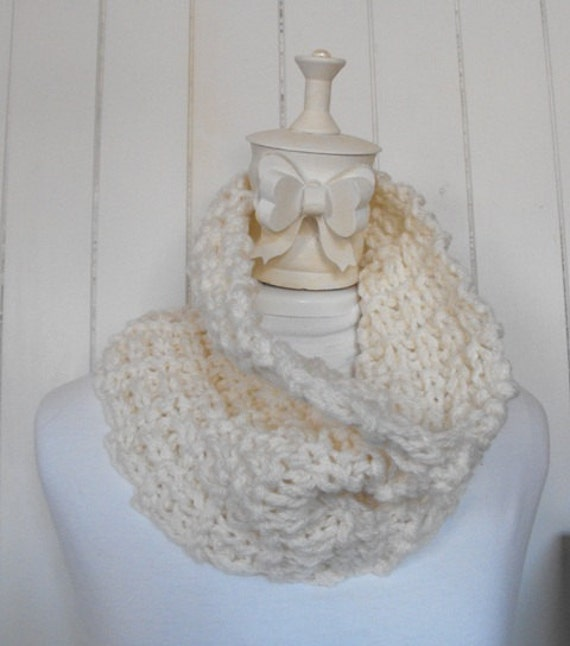 Hand Knitted Women's Feminine White Cowl Neck Warmer Accessory