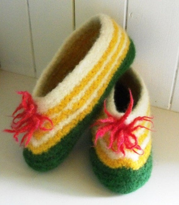 Women Hand Knitted Felted Wool Slippers  for Cottage and Home