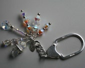 MADE IN ITALY KEY CHAIN STERLING SILVER STAMPED CHARMS SWAROVSKI SQUAREDELLES