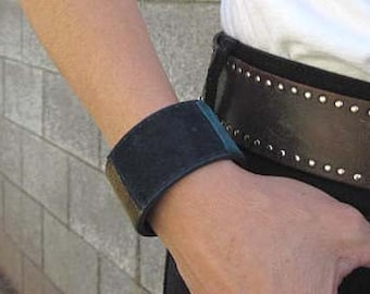 Womens Suede Patch Bracelet Cuff Boho Navy  Blue Under Construction Sale