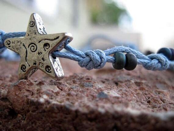 Metal Star Recycled Color Beaded Blue Macrame Bracelet