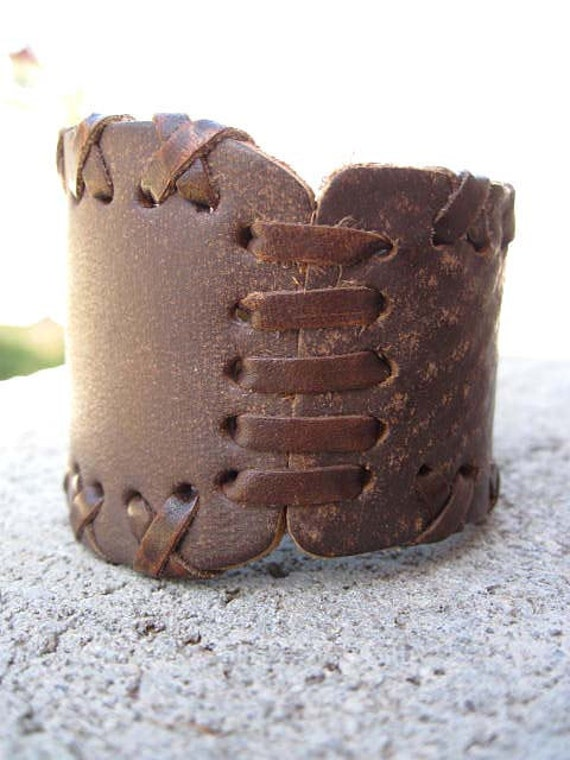 Women's Recycled Brown Patch Laced Leather Bracelet Cuff