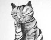 Whimsical cat art mean kitty  wall art Original pen and ink drawing He would bring us gifts