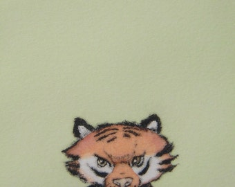 Original whimsical wall art for children room drypoint print with watercolor Little Tiger