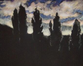 Original landscape art  monotype print w/chalk pastel Landscape Study