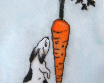 Cute bunny  original drypoint print hand-colored with  watercolor Big dreams can come true
