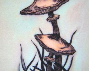 Woodland art, wall art - Original digital painting Untitled (Mushrooms)
