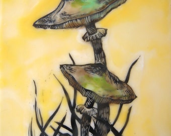 Woodland art mushrooms in lemon yellow Original encaustic wax art painting