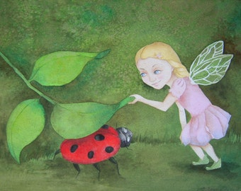 Whimsical fairy wall art Original watercolor painting art for children A Game of Hide-n-Seek
