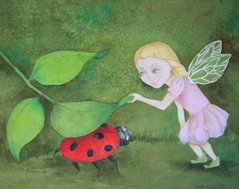 Whimsical fairy wall art Original watercolor painting art for children A Game of Hide-n-Seek
