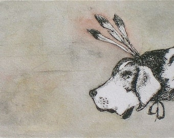 Quirky and whimsical hound dog art feathers  taupe Original hand - pulled drypoint print with watercolor
