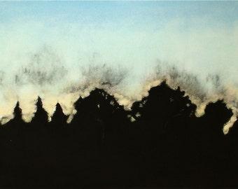 OOAK wall art landscape horizon monotype print w/chalk pastel Quiet Morning
