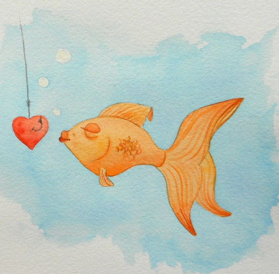 Whimsical original kids wall art watercolor painting- Fish Kiss