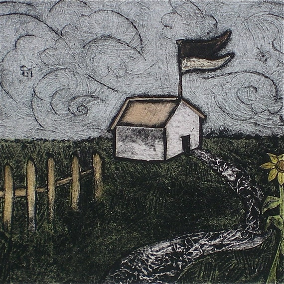 Wall art Little house Original hand pulled collograph print w/ watercolor Simple Wants