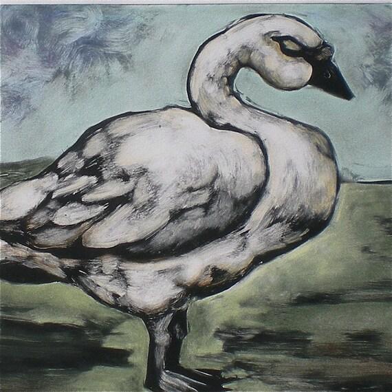 Swan Original wall art reductive monotype fine art print with chalk pastel